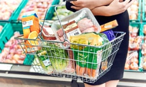 a basket of goods carried in the supermarket