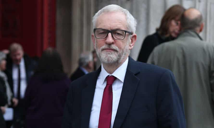 Jeremy Corbyn leaves following the funeral of former health secretary Frank Dobson at St Pancras Church in London
