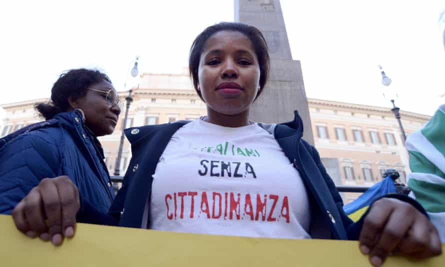 A protest in Rome demanding the approval of a law that would give citizenship rights to migrants born or raised in Italy, November 2017.