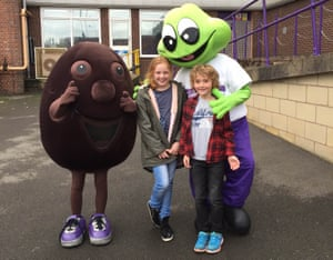 George, the writer's son, and his cousin Millie at Cadbury World.