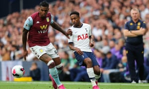 Wesley tussles with Kyle Walker-Peters of Spurs during Aston Villa's 3-1 defeat at the Tottenham Hotspur Stadium.