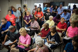 Regional residents attend a meeting to voice their concerns at a media day in Valley Park, Mississippi.