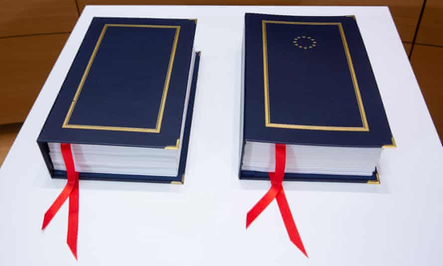 The two copies of the treaty.