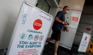 Coronavirus sign outside University College Hospital