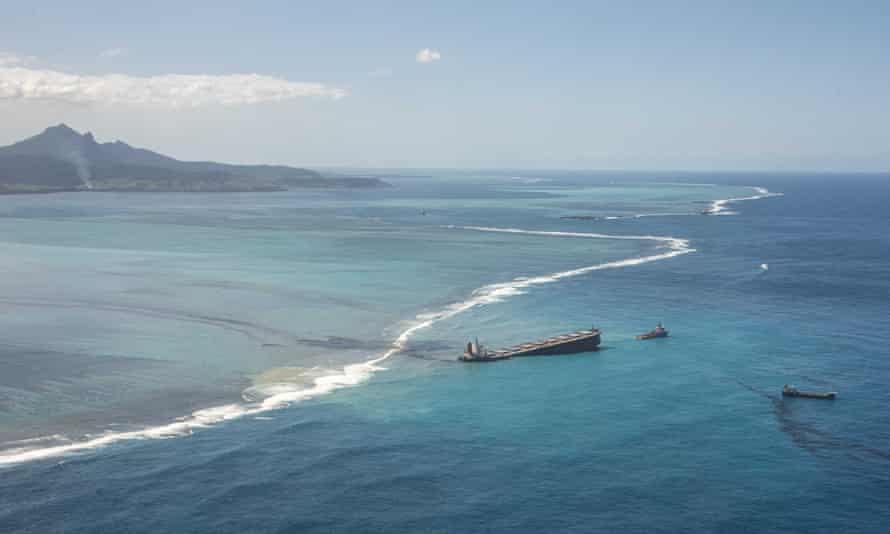 The MV Wakashio carrier leaking oil off the south-east coast of Mauritius.