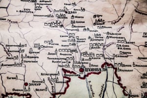 Map of the Republic in the National Museum in South Ossetia's capital Tskhinvali