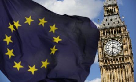 An EU flag flying in front of Big Ben