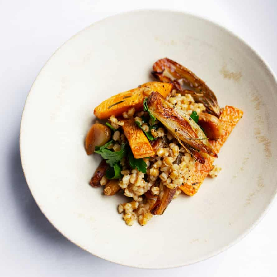 Roasted shallots, swede and pearl barley.