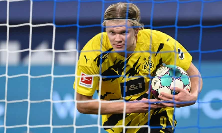 Erling Haaland celebrates scoring for Dortmund against Schalke. The Manchester United manager, Ole Gunnar Solskjær, used to manage him at Molde and they are still in touch.
