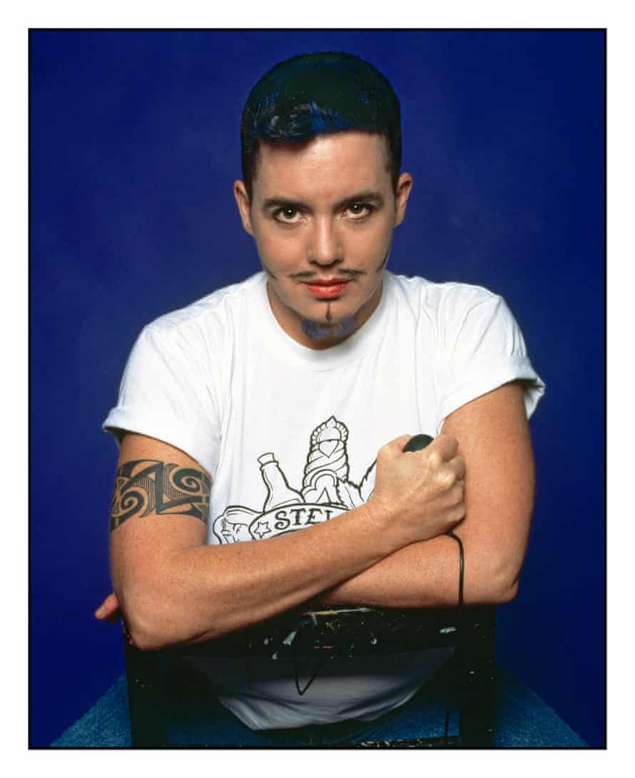 Self Portrait with blue beard, 1995, by Del LaGrace Volcano.