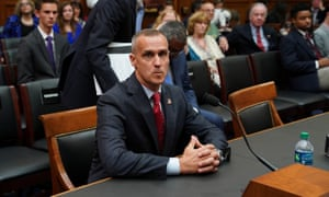 Corey Lewandowski returns from a recess during the House Judiciary Committee hearing on Capitol Hill in Washington, 17 September 2019.