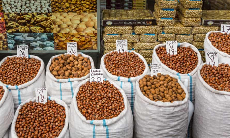 Bags of nuts for sale at a bulk food store in Trabzon.