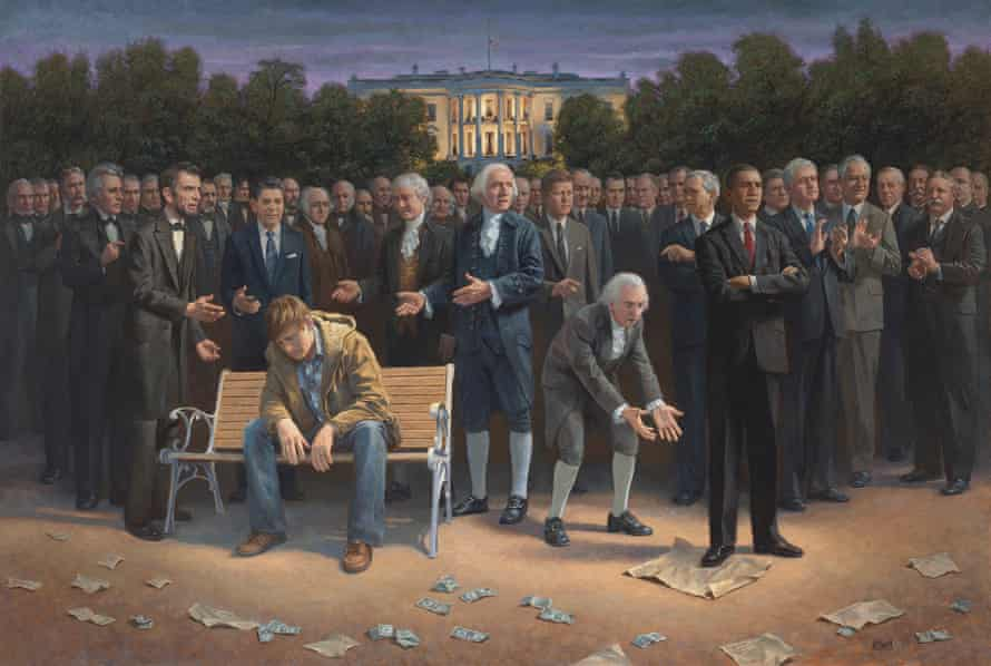 The Forgotten Man, which depicts Obama trampling on the US Constitution, has been bought by Fox News anchor Sean Hannity, who plans to present it to Tump.