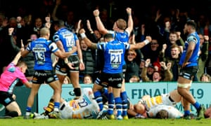 Bath celebrate scoring their bonus point try in the home victory over Wasps.
