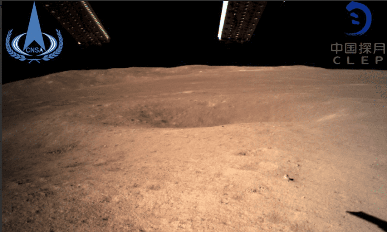 Screenshot of an image take by the Chang'e 4 lunar explorer on the far side of the moon.