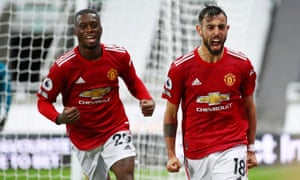 Bruno Fernandes celebrates scoring Manchester United's second goal as they beat Newcastle 4-1.