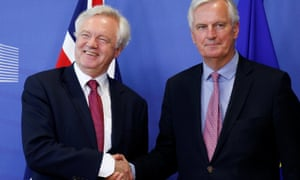 The European Union's chief Brexit negotiator Michael Barnier welcomes Britain's Secretary of State for Exiting the European Union David Davis ahead of their first day of talks in Brussels. Picture: Reuters