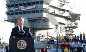 George W Bush addresses the US aboard the nuclear aircraft carrier USS Abraham Lincoln in May 2003, declaring major fighting over in Iraq.
