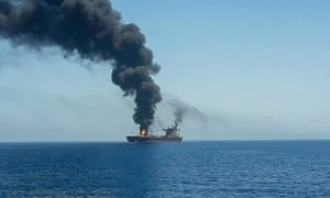An oil tanker is seen after it was attacked at the Gulf of Oman this week.