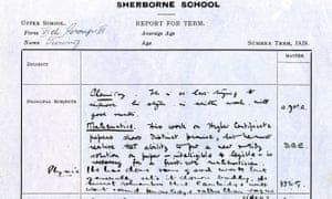Alan Turing's school report which is part of the Codebreakers and Groundbreakers' exhibition in Cambridge.