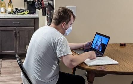 Lane Klumb doing homework while in quarantine
