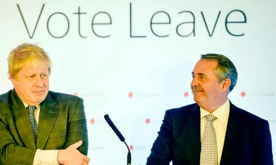 EU referendumBoris Johnson MP (left), former Mayor of London and leading Vote Leave campaigner, speaks at Armada House in Bristol as he outlines a positive vision for Brexit, watched by former Defence Secretary Dr Liam Fox.