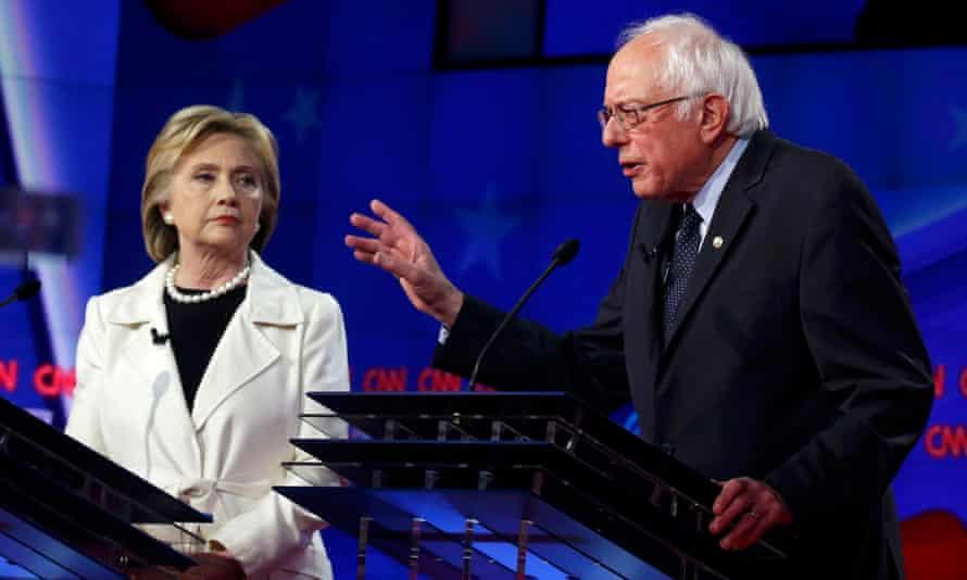 Hillary Clinton and Bernie Sanders speak during the New York Democratic debate.