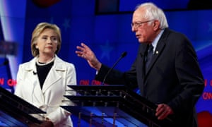 Clinton and Sanders during a debate.