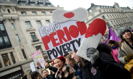 Women campaign in London to eliminate period poverty.