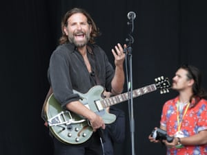 American actor Bradley Cooper filming scenes from A Star is Born on the Pyramid Stage, before Kris Kristofferson's set
