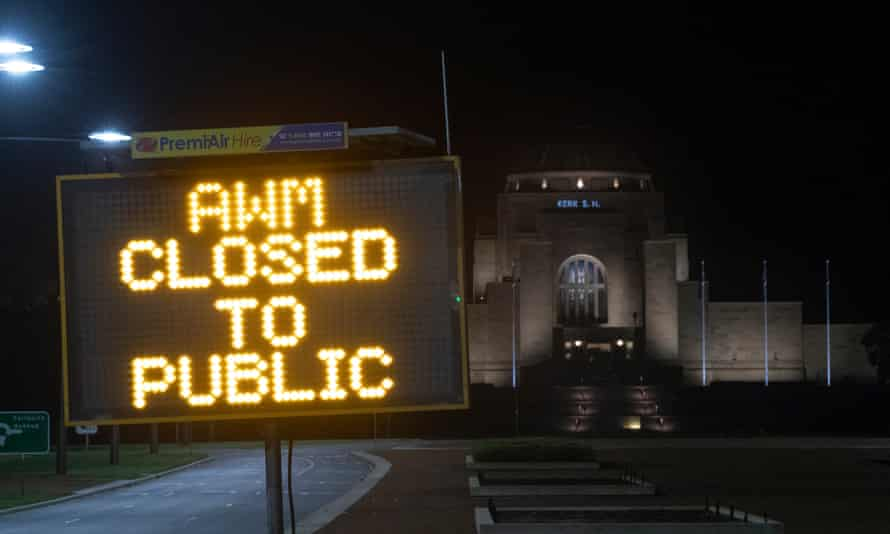 The Australian war memorial Anzac day dawn service 2020 will be closed to the public and televised nationally on ABC TV. 23 April 2020.