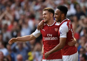 Ramsey celebrates Aubameyang after scoring Arsenal's second