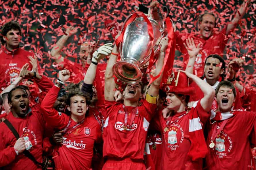 Liverpool's captain, Steven Gerrard, lifts the European Cup.