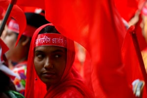Dhaka, Bangladesh A worker takes part in a march to demand better working conditions, more jobs and higher wages