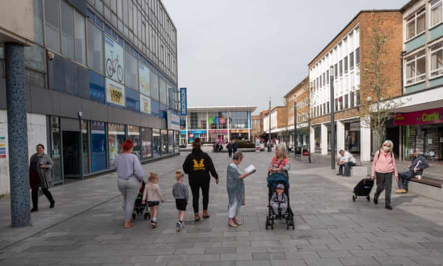 Crawley town centre a year after the first lockdown.