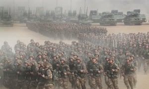 Chinese combat troops perform drills