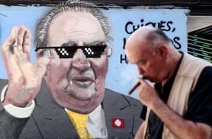 Valencia, Spain: A mural by artist J.Warx depicting Spain's scandal-hit former king Juan Carlos