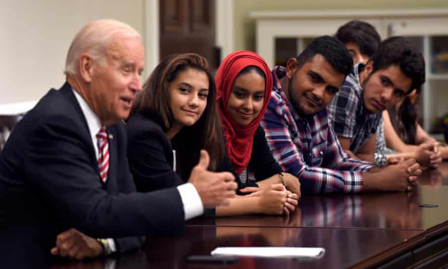 Vice President Joe Biden speaks to Iraqi high school students in the Eisenhower Executive Office Building on the White House complex in Washington, on August 19, 2014. The students are at the end of their four-week exchange to the United States as part of the Iraqi Young Leaders Exchange Program.