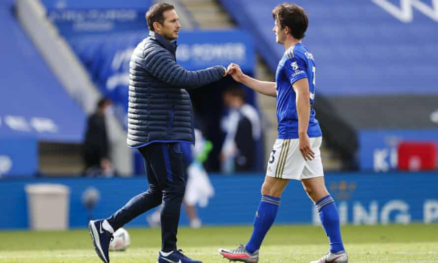 Frank Lampard and Ben Chilwell bump arms after Chelsea beat Leicester 1-0 in the FA Cup quarter-finals in June.