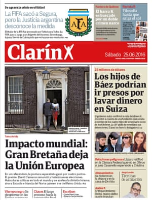 Clarin - argentina newspaper front page 25 June 2016 European Referendum David Cameron resignation