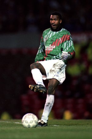 Leeds United's Lucas Radebe got to show off his goalkeeping skills