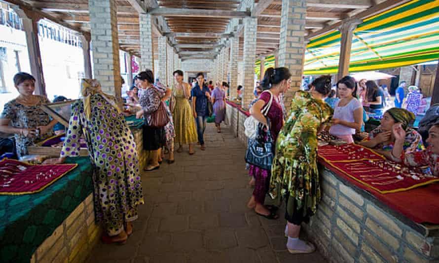 A jewellery market in Bukhara.