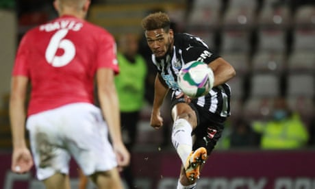 Joelinton double at Morecambe helps Newcastle to thumping 7-0 win