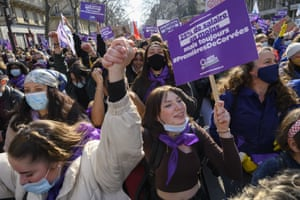 France A protest in Paris called for a 'feminist strike' to end the inequalities, discrimination and violence worsened and accentuated by the coronavirus pandemic.