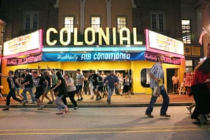 The 'run out' scene from the film The Blob is re-enacted at the Colonial Theater during Blobfest 2017 Phoenixville, Philadelphia, USA
