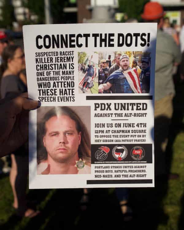 "An ""antifa"" flier shows Jeremy Christian."