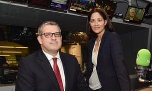 Andrew Parker with Mishal Husain in the BBC Radio 4 studio in London.