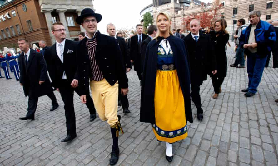 Jimmie Akesson, the Sweden Democrats leader, and his girlfriend, Louise Erixson, in traditional costume for a service at Stockholm Cathedral in 2010.