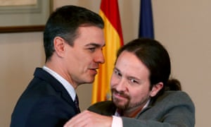 Pedro Sanchez, left, and Podemos leader Pablo Iglesias at a news conference.