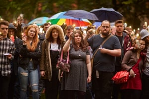 Manchester, England A candlelit vigil and hand-hold in Manchester's gay village to commemorate the victims from the LGBT community who were killed in a mass shooting at the Pulse nighclub in Orlando